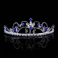 Beautiful Butterfly Flower Wedding Prom Royal Blue Crystal Bridal Tiara Headband