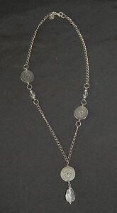 SILPADA - N1713 - Oxdzd Strlg Slvr Coin Embellshmnts Crystal Pend Necklace - RET