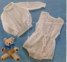 """Vintage baby Romper suit & sweater Knitting pattern- fits 18-20"""" 4 ply wool"""
