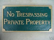 Cast Aluminum No Hunting or Trespassing Sign Plaque