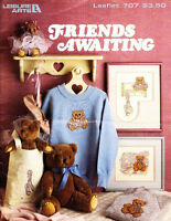 Leisure Arts 707 FRIENDS AWAITING Cross Stitch Teddy Bears Ballerina +