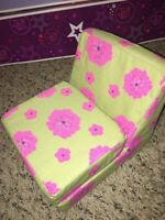 "American Girl_Floral FLIP CHAIR - LOUNGE_18"" Doll Furniture_Retired"