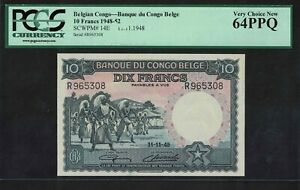 Pick14E Belgian Congo 10 Francs 1948  GEM UNC PCGS/PMG64PPQ