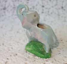 Art Deco Cubist Porcelain Elephant Figurine Lusterware Iridescent Pin Cushion