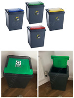 NEW 50L 50 LITER PLASTIC RECYCLE KITCHEN BIN GARDEN WASTE RUBBISH RECYCLING BINS