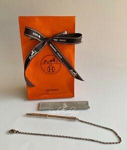 Authentic HERMES Agenda Ballpoint pen chain  Sterling Silver AG925