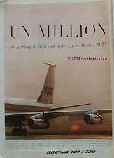 PUBLICITE AVION BOEING 707 ET 720 COMPAGNIE AERIENNE DE 1960 FRENCH AD ADVERT