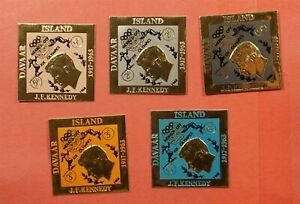 5 IMPERF DAVAAR ISLAND JFK XIX OLYMPICS OVERPRINT GOLD FOIL MNH