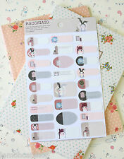 Ribbon Macchiato Rabbit Name Stickers kawaii cute cartoon book planner labels