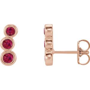 Ruby Three-Stone Ear Climbers In 14K Rose Gold