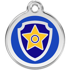 Red Dingo Paw Patrol Chase Stainless Steel Engraved Pet Tag/Kids Keyring