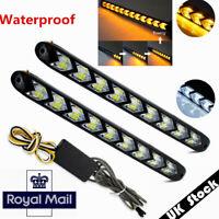 2x Car Switchback White / Amber LED Strip Drl Run Light 250mm UK Stock !