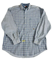 Tommy Hilfiger Blue White Striped Long Sleeve Mens Button Down Shirt Large