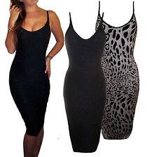 Peaches&Cream Smart Bodycon Strappy Party Dress V Neck Black Animal Print 10 14