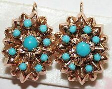 ANTIQUE VICTORIAN FRENCH 2 COLOR 18K GOLD TURQUOISE OVAL FLOWER EARRINGS c 1880