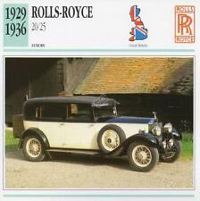 1929-1936 ROLLS ROYCE 20/25 Classic Car Photograph / Information Maxi Card