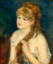 Young Woman Braiding Her Hair by Pierre-Auguste Renoir- 60cm x 50cm Art Print