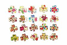 Three Leaf Clover Wood Button Mix Floral Flower Shape Good Luck Mixed 20pcs