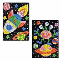2 Mosaikbilder Rakete + Alien Mosaiksteine Junge Kreativset Bastelset Klebebild