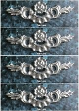 4 silver Shabby Chic Furniture Drawer Knob Flower Leaf Resin Appliques Mouldings