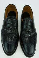 Allen Edmonds Leyland Men's Size 14 B Black Woven Split Almond Toe Penny Loafers
