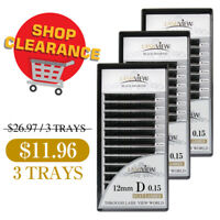 Lashview Flat Eyelash Extensions 0.15 0.20mm C D Lashes Shop Clearance 3-BOX Set