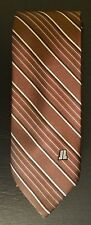 Vintage LANVIN Brown Silk Striped Tie