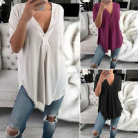 ZANZEA Women Summer Short Sleeve Tee T-Shirt Top Loose Baggy Plus Size Blouse