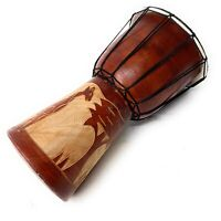 "African Djembe Musical Bongo Beautiful Hand Carved Wooden Drum 11.5"" x 6"""