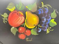 Vintage Nashco Products Hand-Painted Apple Pear Cherry Grapes Tole Tray Signed