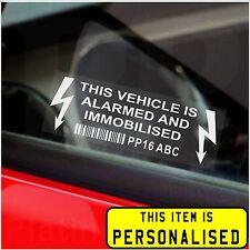 Coche, Camioneta, Taxi, camión Alarma immobiliser seguridad stickers-printed registro