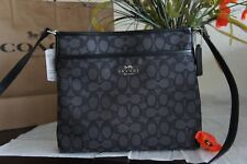 NWT Coach F29960 Signature Jacquard Crossbody Small File Bag Black Smoke $195