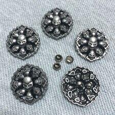 "Pkg of 5 Skulls Bike Chain Metal Rivet Studs 1-1/8"" (28mm) Leather Crafts (1098)"