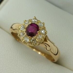 15ct Yellow Gold Antique Ruby & Old Cut Diamond Cluster Ring, Finger Size N
