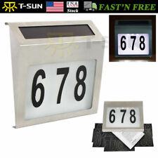 LED Solar Power Light Sign House Door Address Finder Plaque Number Digits Plate