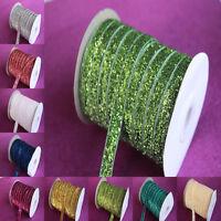 "5-200yard 3/8 ""10mm Sparkle Glitter Velvet Ribbon Headband Clips Bow Decoration"