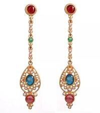 HAUTE COUTURE RED BLUE CRYSTAL RHINESTONE PEARL Gripoix Chandelier Drop Earrings