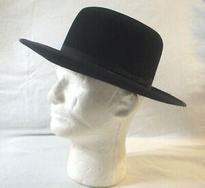 """Stetson 4XXXX Men""""s Authentic Amish Black Buffalo Felt Hat Halloween Sz 6 3/4"""