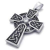 Keltisch Knoten Kreuz Anhaenger 50cm Halskette Herren Damen Schwarz Silber B1N6