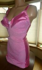 Vtg 42D Pink Lace Body Girdle Short Satin Spandex Stretch Full Shaper Slip