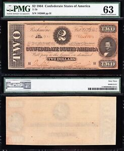 Amazing CHOICE UNC T-70 1864 $2 Confederate CSA Note! PMG 63! FREE SHIP! 102660