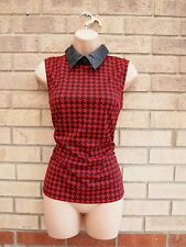 EVA & LOLA RED BLACK DOG TOOTH CHECKED PRINT FAUX LEATHER COLLAR TOP BLOUSE M L