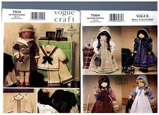 """VOGUE 7514 & 7564 PATTERNS Doll 1930s Clothes Prairie Dress 18"""" American Girl"""