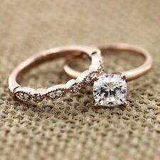 1.12ct Diamond Solitaire Engagement Ring & Wedding Band Set In 14K Rose Gold