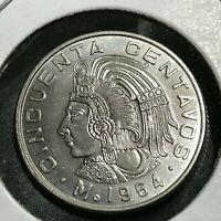 1964 MEXICO 50 CENTAVOS BRILLIANT UNCIRCULATED