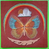 Vintage Mid Century 60s 70s Colorful String Art Wall Hanging Butterfly Rainbow