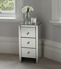 Mirrored Glass Bedside Table cabinet 3 Drawers and Crystal Handles Bedroom Furni