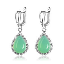 Women Charm Natural Stone Opal Turquoise Agate Jade Ear Hoops Dangle Earrings