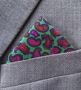 SUPERNOVA Pretty Paisley Green Silk Pocket Square Handkerchief Scooter Mod