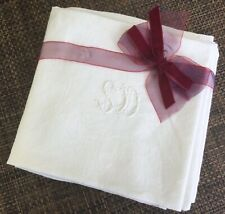 More details for 6 antique vintage french cotton damask napkins whitework sd monogram embroidery